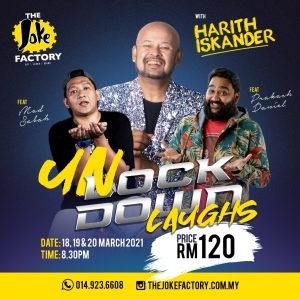 Exactly one year later to the day that Malaysia went into lockdown (12/03/20), Harith Iskander and his friends ready to hit the stage again with UN-LOCK-DOWN Laughs! The FIRST live show since MCO 2.0 is going to be a laugh-a-thon of pandemic proportions (excuse the pun). Harith, Prakash Daniel and Mad Sabah are ready to unleash a metal ox full of mirth on the public and you don't want to miss it!